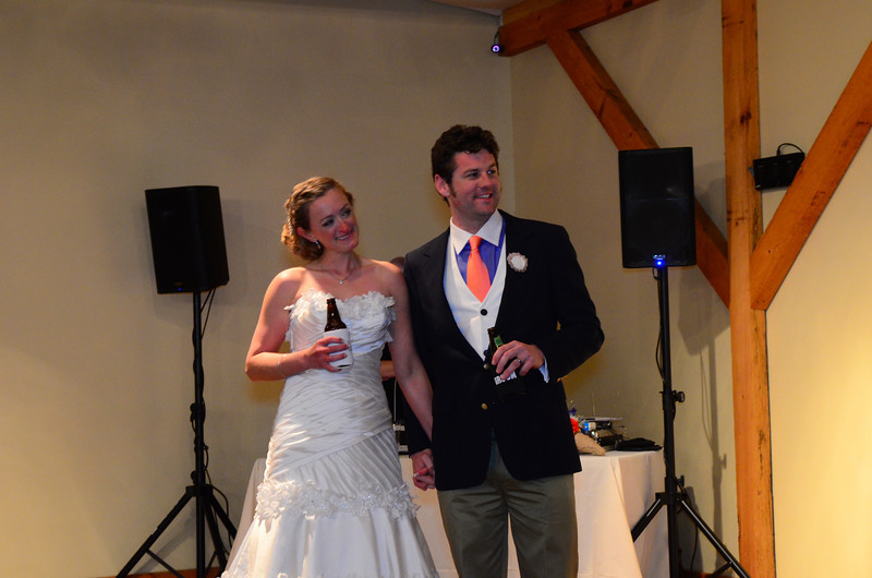 Melissa and Mark listening to the toasts.