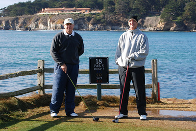Bruce & Paul standing on the 18th tee at Pebble Beach Dec 2007