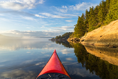 Kayak paddling a calm winter day