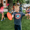 Miles Brunelle, 7,  mimicks frisbee tricks during a workshop taught by Todd Brodeur, of World Class Frisbee Shows, at Thayer Memorial Library in Lancaster on Thursday, July 20, 2017. SENTINEL & ENTERPRISE / Ashley Green