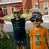 Hadley, 6, and Eli Myler, 4, mimick frisbee tricks during a workshop taught by Todd Brodeur, of World Class Frisbee Shows, at Thayer Memorial Library in Lancaster on Thursday, July 20, 2017. SENTINEL & ENTERPRISE / Ashley Green