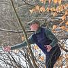 KRISTOPHER RADDER — BRATTLEBORO REFORMER<br /> Ian Martin, of Newfane, throws his frisbee through the woods during a round of frisbee golf at Living Memorial Park, in Brattleboro, on Thursday, Jan., 2, 2020.