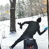 KRISTOPHER RADDER — BRATTLEBORO REFORMER<br /> Jim Olson, of Brattleboro,  lines up his throw during a round of frisbee golf at Living Memorial Park, in Brattleboro, on Thursday, Jan., 2, 2020.