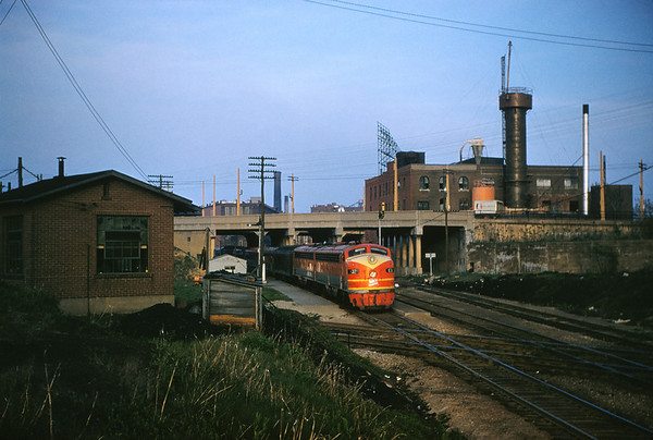 SLSF 74 - Apr 26 1956 - MK&T eng 132 @ Tower Grove Station on Texas Station