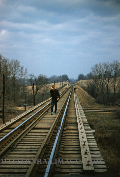 SLSF 73 - Dec 28 1955 - Jim Christen on trestle at Alpha St Louis County MO