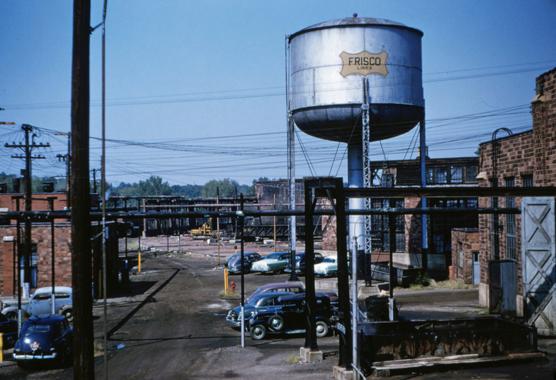 SLSF 27 - Aug 29 1954 - view of razed roundhouse from Fyler bridge St Louis MO
