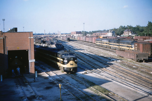 Frisco 8 - Aug 22 1954 - Alco-GE freight engine at Lindenwood yrds MO