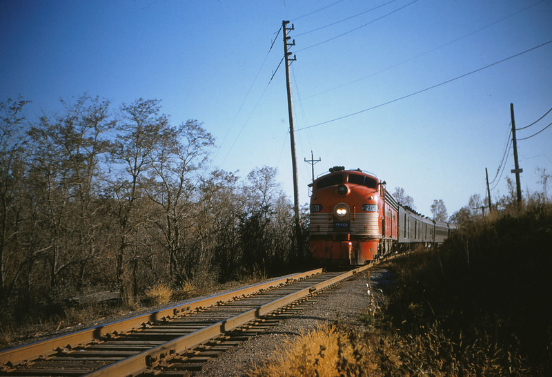 SLSF 55 - Nov 7 1954 - Engine 2020 on 105 sunnyland @ mp 12 5 south of St  Louis MO