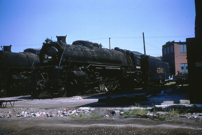 SLSF 28 - Aug 29 1954 - 4-8-4 no 4517 & tender of 4501 Lindenwood division St Louis MO