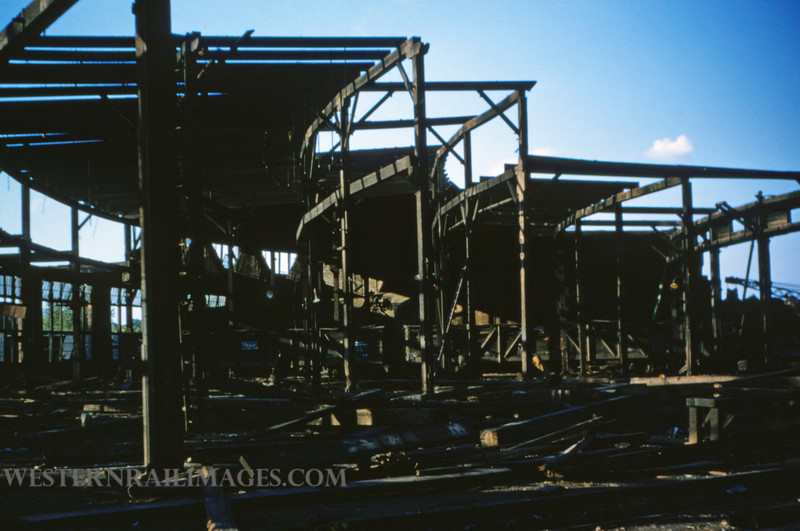SLSF 9 - Aug 22 1954 - roundhouse being razed in Linderwood MO