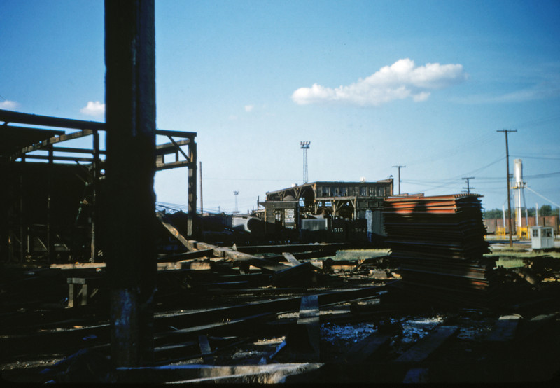 SLSF 10 - Aug 22 1954 - scene at Lindenwood roundhouse razing MO
