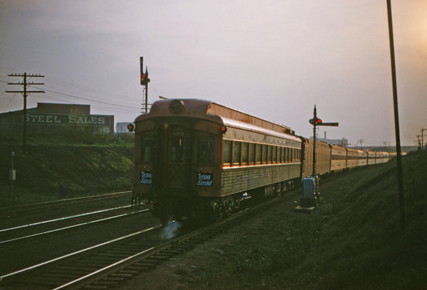 SLSF 76 - Apr 26 1956 - parlor car on Texas Special west of Tower Grove MO