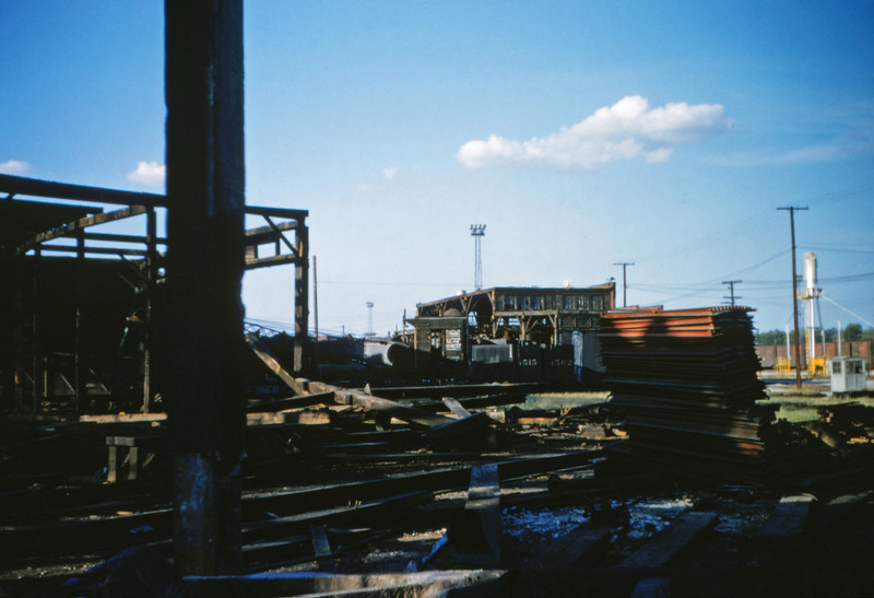 SLSF 10 - Aug 22 1954 - roundhouse being destroyed Lindenwood MO