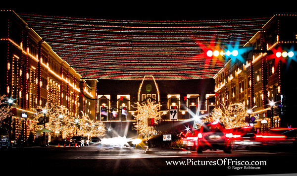 The famous Christmas lights in Frisco Square