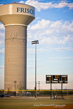 One of Frisco's water towers overlooking Phillip's Ball Fields