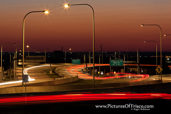 A long exposure look over the Dallas North Tollway through Frisco.