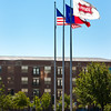 Flags outside of Frisco City Hall