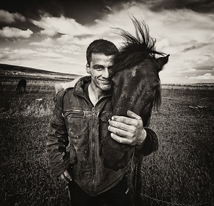 Dorel and His Horse. Portrait on the Double