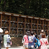 The long walk to the shrine is lined with wine barrels (on one side) and sake casks on the other