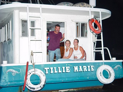 Father and Daughters on the family shrimp boat