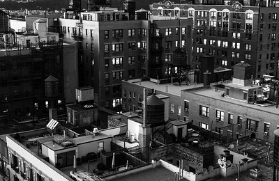Rooftop Dusk _ bw