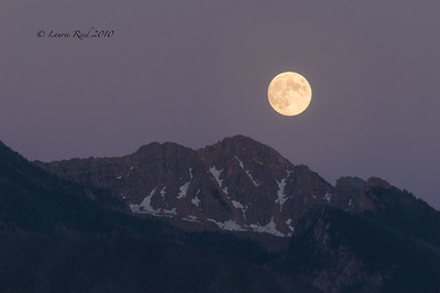 Moonrise over the Mission Mountains, Montana