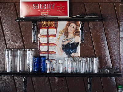 Inside the bar. Note the 2013 calendar.