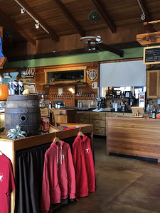 Inside Yachats Brewing. Tables & chairs removed — now a gift shop. All dining is now outside due to COVID. Still great beers & food.