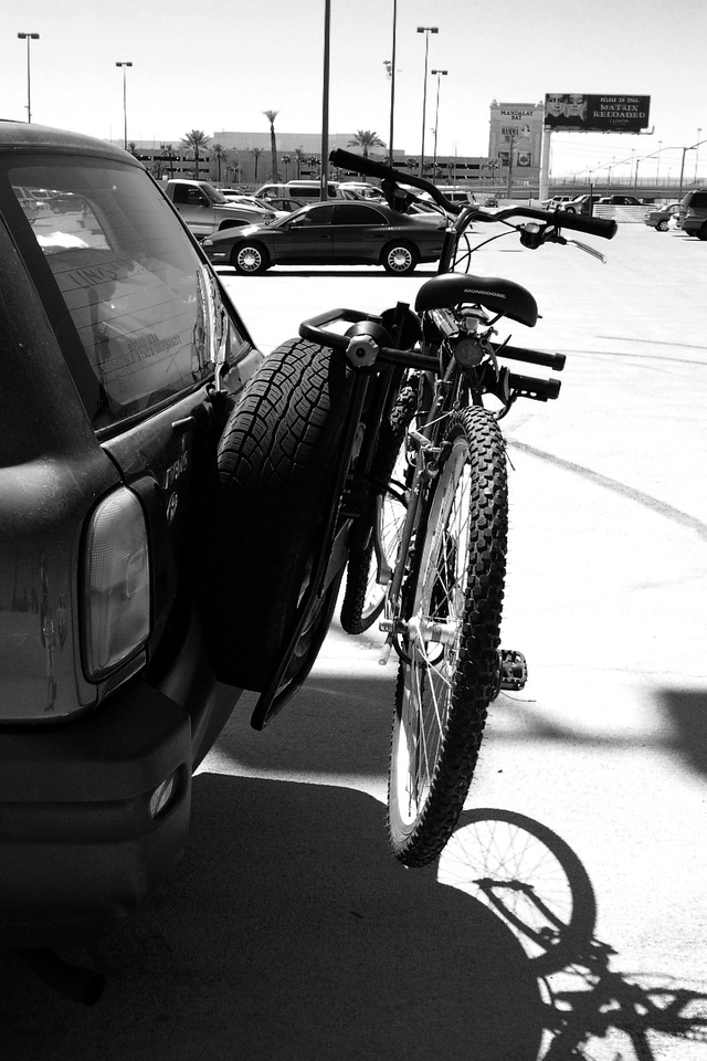 Spare Tire along with the Bike and Bike Rack are Bent Over 45 Degrees