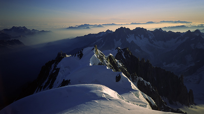 Mont Maudit and Mont Blanc du Tacul from the summit of Mont Blanc