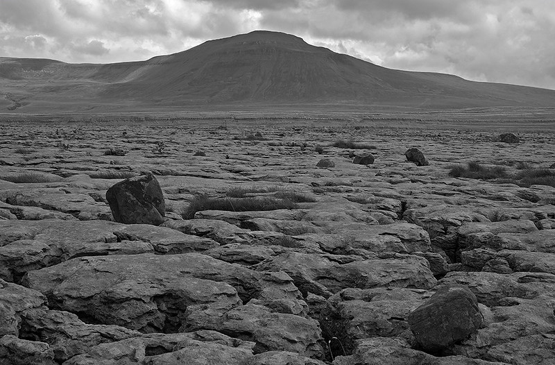 Scales Moor erratics and Ingleborough, Yorkshire Dales, England