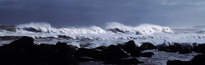 breaking waves, Yorkshire coast