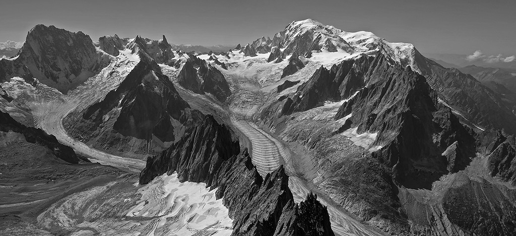 Massif du Mont Blanc from high on l'Aiguille Verte