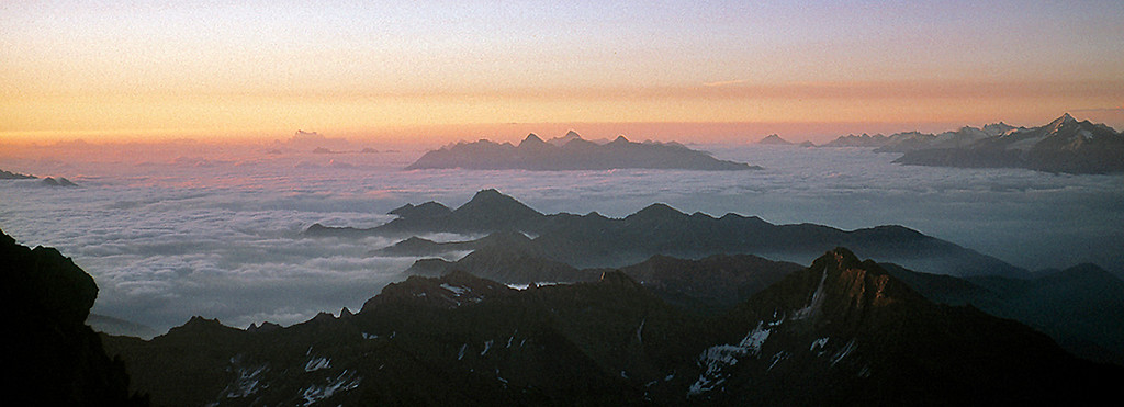 dawn over the Valais Alps from the Grandes Jorasses