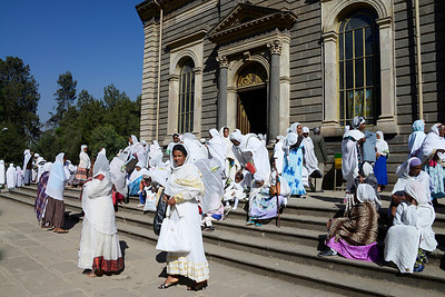 Leaving church after a baptism at St George Cathedral, Addis Abeba
