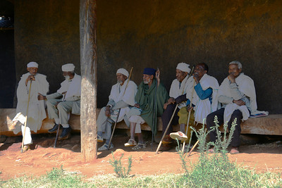 The monasteries of Lake Tana, (Ethiopia's largest lake). The priests take a shady break from the late morning sun...