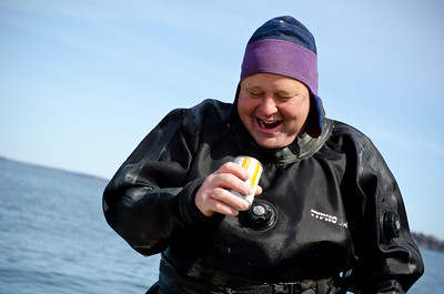 29. Diving for sea scallops in Casco Bay, Maine, March 2013.