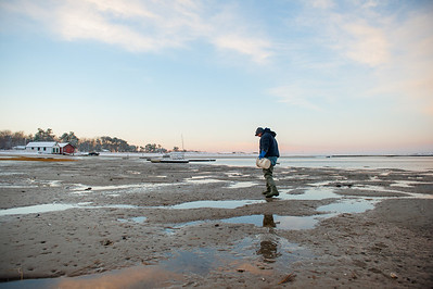 4. Clam digging, January 2013, Scarborough, Maine.