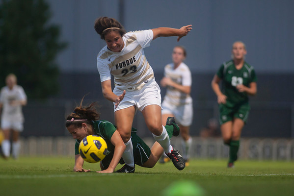 Hadley Stuart dribbles the ball past a Dartmouth defender during Purdue's game againt the Big Green on Friday night.