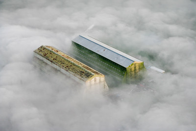 Cardington airship hangars in the fog