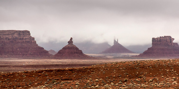 Eerie clouds hide rock formations in Monument Valley