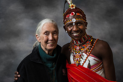 Dr. Jane Goodall and Ewaso Lion conservationist Jeneria.