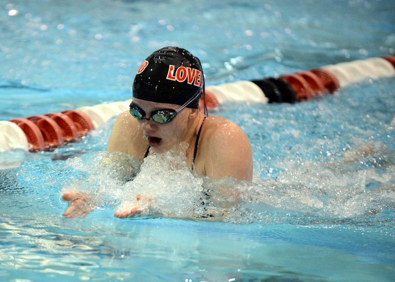 Loveland's Jordan Reichhardt competes in the 100-yard breaststroke at Saturday's Front Range League Championships at Veterans Memorial Aquatic Center in Thornton. (Mike Brohard/Loveland Reporter-Herald)