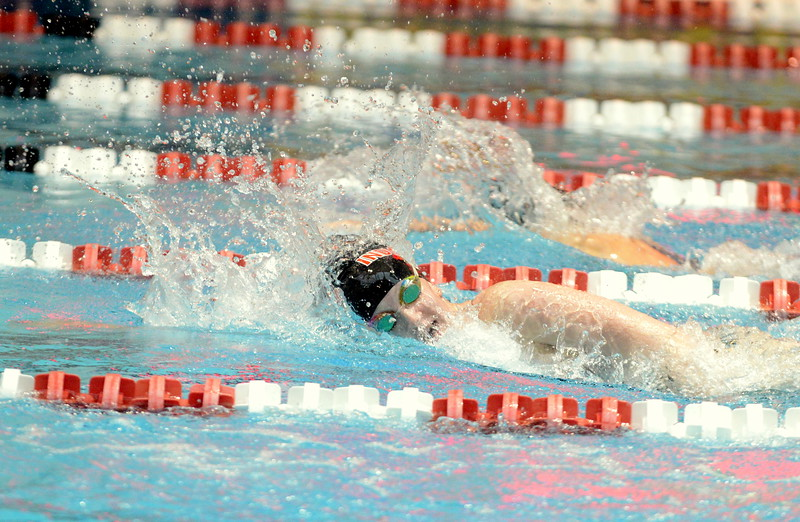 Loveland's Erin Lang starts to make her move during the 200-yard freestyle finals at Saturdays' finals of the Front Range League Championships at Veterans Memorial Aquatics Center in Thornton. Lang placed second in a time of 1:55.83. (Mike Brohard/Loveland Reporter-Herald)