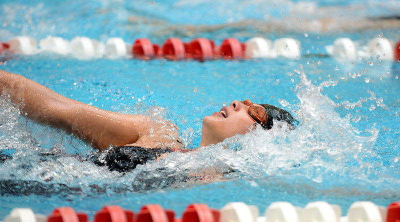 Trinity Robertson of Loveland competes in the C final of the 200-yard individual medley at Saturdays' finals of the Front Range League Championships at Veterans Memorial Aquatics Center in Thornton. (Mike Brohard/Loveland Reporter-Herald)