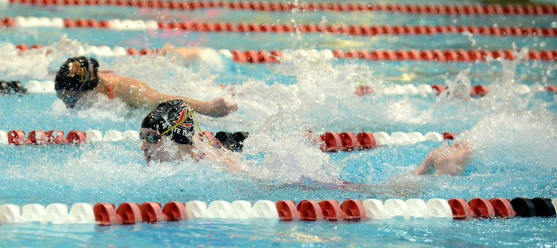 Loveland's Josie Brohard competes in the B finals of the 100-yard butterfly at Saturdays' finals of the Front Range League Championships at Veterans Memorial Aquatics Center in Thornton. (Mike Brohard/Loveland Reporter-Herald)