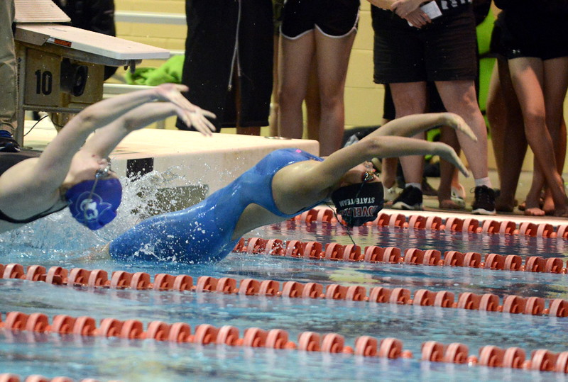 Loveland's Lexi Haire comes out of the blocks at the start of the 100-yard backstroke at Saturday's Front Range League Championships at Veterans Memorial Aquatic Center in Thornton. (Mike Brohard/Loveland Reporter-Herald)
