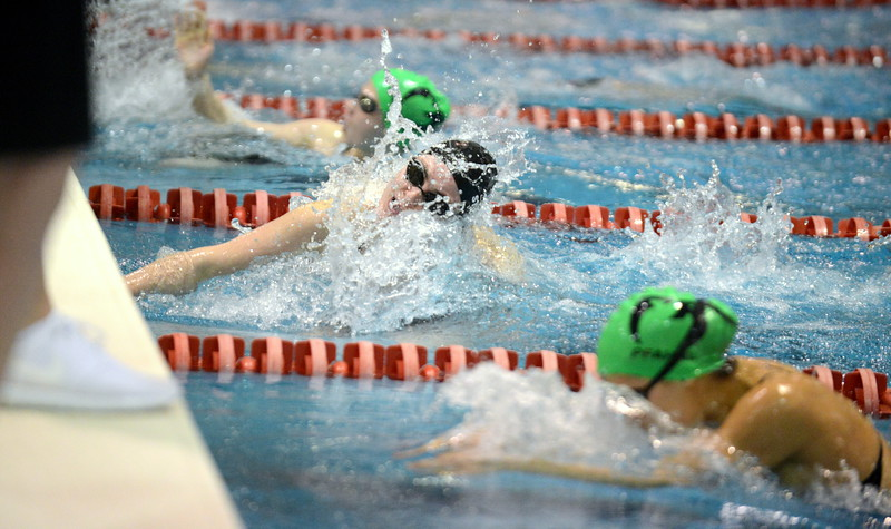 Loveland's Ashley Peet makes the turn during the 100-yard breaststroke finals at Saturday's Front Range League Championships at Veterans Memorial Aquatic Center in Thornton. Peet was second in a time of 1:06.89. (Mike Brohard/Loveland Reporter-Herald)
