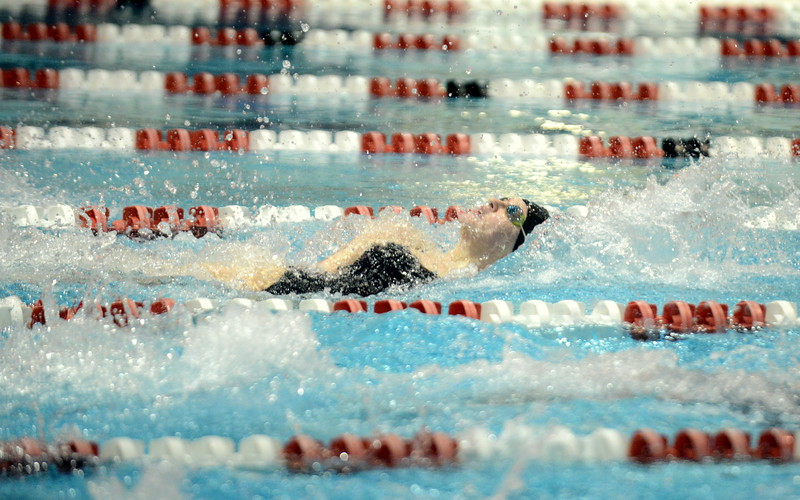 Erin Lang of Loveland placed second in the 100-yard backstroke at Saturday's Front Range League Championships at Veterans Memorial Aquatic Center in Thornton. (Mike Brohard/Loveland Reporter-Herald)