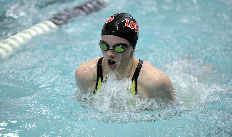Loveland's Jordan Reichhardt comes up for air during the 100-yard breaststroke finals at Saturday's Front Range League Championships at the Mountain View Aquatic Center. Reichhardt placed seventh with a time of 1:11.20.